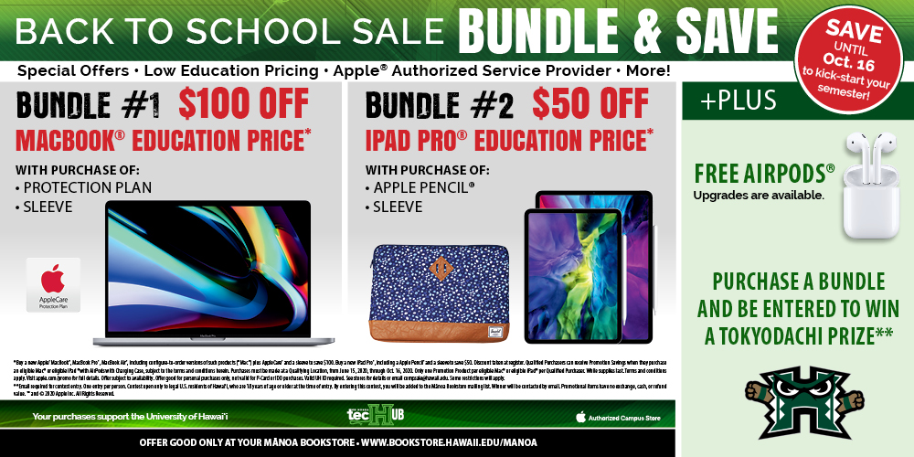 Apple Back to School Bundle - Bundle and Save, Free AirPods with Apple Purchase